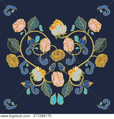 Vector Royal Baroque Intarsia Style Floral Illustration Set, Vintage Design With Hand Drawn Historic