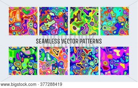 Khaki Bright Seamless. Abstract Glitch Background. Liquid Colorful Background. Seamless Texture. Vec
