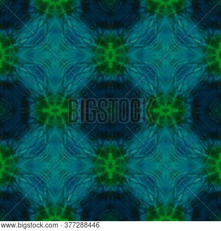 Original Tile Template.  Majolica Tiles Print. Retro Fabric Ornate. Green Seamless Watercolor Majoli