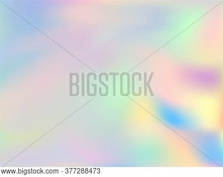 Neon Holographic Paper Fluid Gradient Backdrop. Bright Pastel Rainbow Unicorn Background. Hologram C