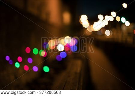 Night City Street Abstract Out Of Focus Lighting Illumination Colorful Garland Lamps Red Green Yello