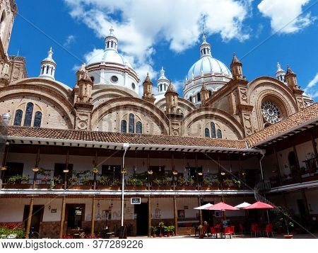 Cuenca, Ecuador - July 16; 2020: View At Courtyard And Domes Of New Cathedral Or Catedral De La Inma