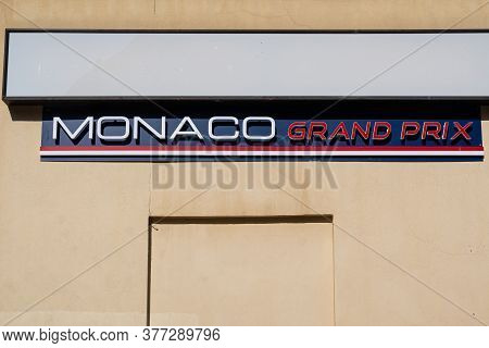 Menton, France - July 2, 2020: Monaco Grand Prix Store In Menton, Selling Products Relating To Grand