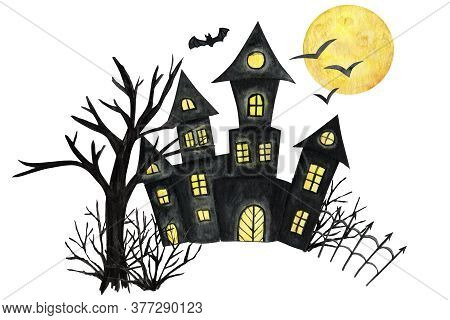 Halloween Holiday Castel, Bat, Moon, Tree. Party Card Decorations Design. Watercolor Cartoon Illustr