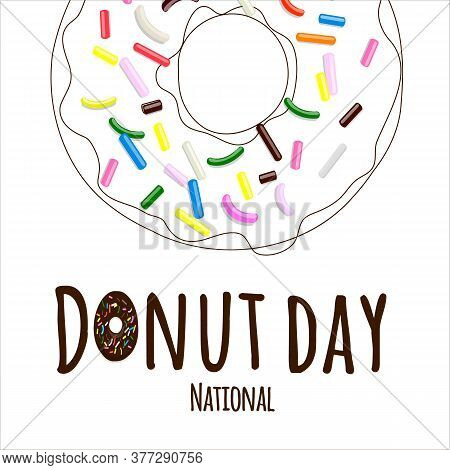 National Donut Day Text In Cartoon Style With Multi-colored Pastry Topping On Donut In Line Art Isol
