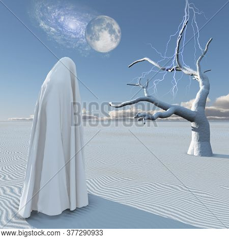 Figure in white clothes stands in surreal white desert. Planet Zen. 3D rendering