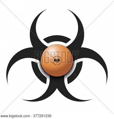 Biohazard Symbol With Ping-pong Ball. Caution Biological Danger Toxic Sign. Ping-pong Quarantined. C