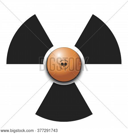 Radiaction Symbol With Ping-pong Ball. Caution Radioactive Danger Sign. Ping-pong Quarantined. Cance