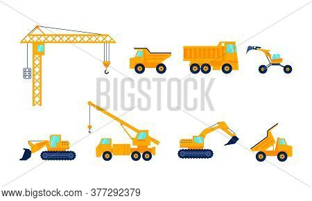 Construction Machines For The Construction Work. Special Equipment, Orange Commercial Vehicles Set.