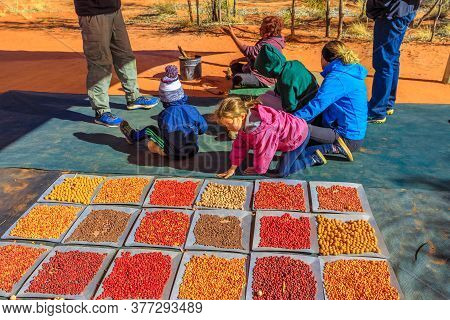 Kings Creek Station, Northern Territory, Australia - Aug 21, 2019: Children Play With Variety Colorf