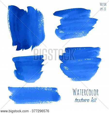 Set Of Navy Blue, Indigo Watercolor Hand Painted Texture Backgrounds Isolated On White. Abstract Vec