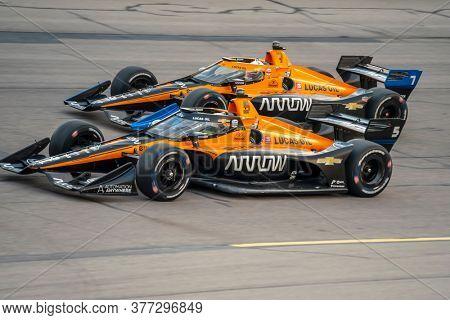 July 18, 2020 - Newton, Iowa, USA: PATO OWARD (5) of Monterey, Mexico  races through the turns during the  race for the Iowa INDYCAR 250s at Iowa Speedway in Newton, Iowa.