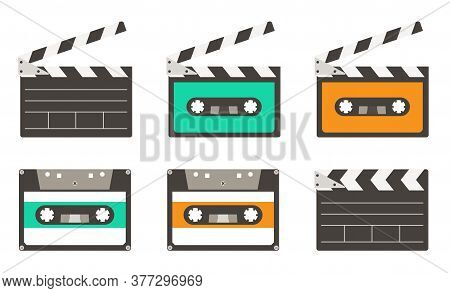 Collection Set Of 80s 90s Music Audio Cassette Tape And Movie Clapper Objects Icons Vector Illustrat