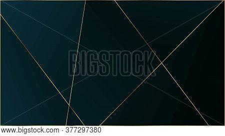 Blue Premium Polygon Pattern. Gold Lines Triangular Luxury Frame. Elegant Dark Platinum Chic Shapes