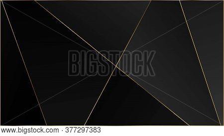 Black Premium Triangular Texture. Gold Lines Polygon Luxury Banner. Silver Vip Rich Geometric Celebr