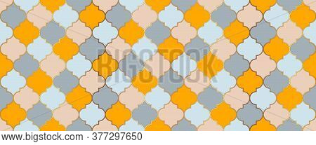Ramadan Kareem Muslim Background. Arabic Mosque Window Grid. Moroccan Seamless Ornament Traditional