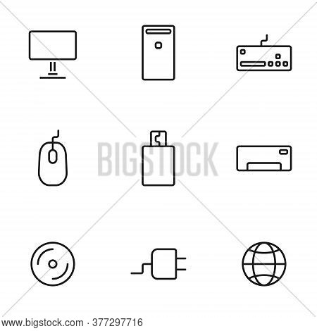 Set Of Computers Line Icons Contains Laptop, Printer And More. 64x64 Pixel Perfect. Vector Illustrat