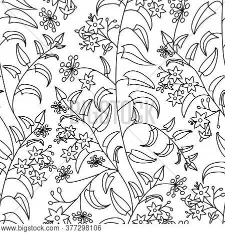 Nightshade. Floral Decorative Pattern. . Seamless Pattern On A White Isolated Background