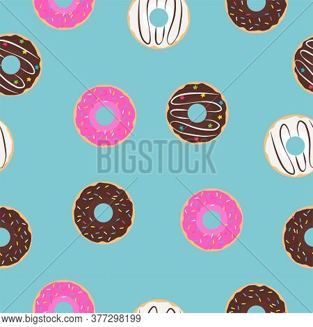 Chocolate, Strawberry And Creamy Donut. Seamless Vector Patterns