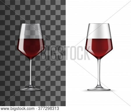 Wine Glass With Red Wine Realistic Vector Mockup On Transparent Background. Clear Wineglass, Tempran
