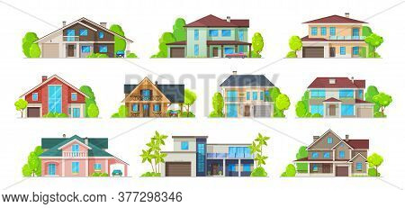 House Building Vector Icons Of Real Estate Homes, Cottages, Villas And Bungalows, Mansions And Townh