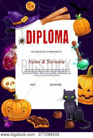 Kids Diploma With Halloween Vector Characters And Items Bat, Black Cat And Pumpkin Lantern, Potion I
