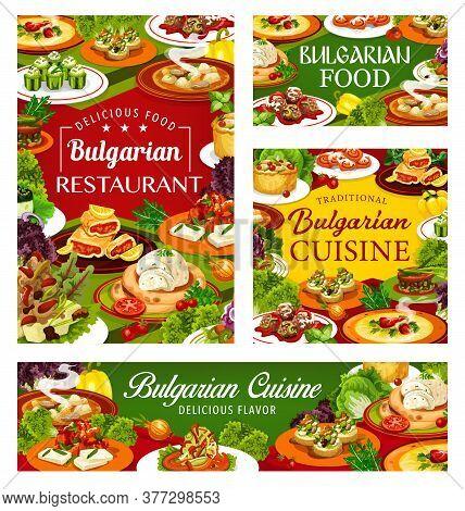 Bulgarian Cuisine Restaurant Food. Vector Vegetable Soups And Yogurt Salads, Meat Stew, Pepper Luten