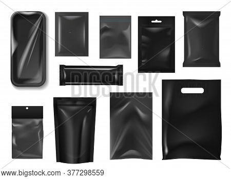 Plastic Packs And Bags Realistic Mockup Of Vector Food Packages. Black Foil Pouch, Sachet, Stand Up