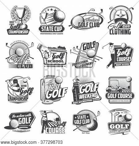 Golf Sport Icons With Isolated Vector Balls, Clubs, Tee, Holes And Flags, Golfer Players, Cart And G