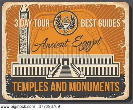 Ancient Egyptian Travel Landmarks With Vector Temples And Monuments Of Egypt. Valley Of The King Nec