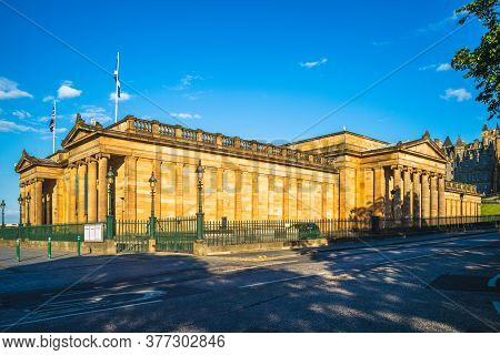 Facade Of Royal Scottish Academy In Edinburgh, Uk