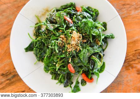 Stir Fried Oyster Sauce Watercress Vegetable On White Plate / Health Food Green Vegetables Cooked Fo