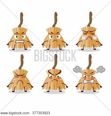 Witch Broom Cartoon Character With Various Angry Expressions