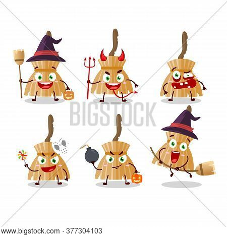 Halloween Expression Emoticons With Cartoon Character Of Witch Broom