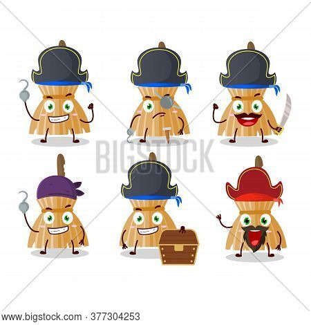 Cartoon Character Of Witch Broom With Various Pirates Emoticons
