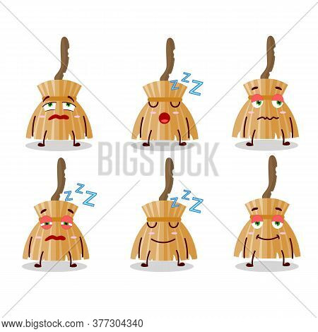 Cartoon Character Of Witch Broom With Sleepy Expression