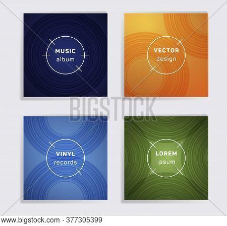 Vintage Vinyl Records Music Album Covers Set. Semicircle Curve Lines Patterns. Futuristic Creative V