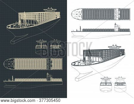 Stylized Vector Illustration Of A Large Container Ship Drawings