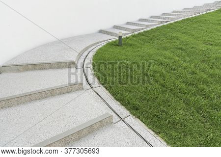 Empty Stairway In Park. Modern Building Abstract Background