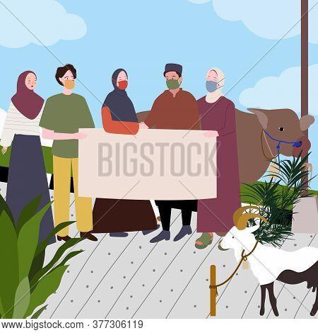 Group Photo Man Woman Muslim Wearing Masker Background Cow Sacrifice With Modern Flat Cartoon Style