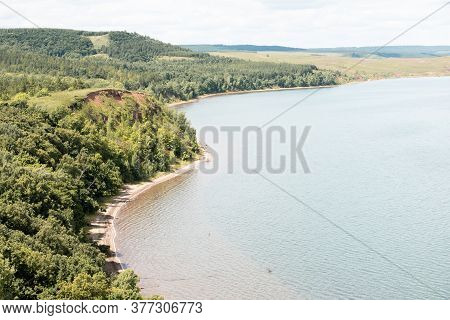 Beautiful Lake With Clear Blue Water On A Clear Sunny Summer Day. Landscape.