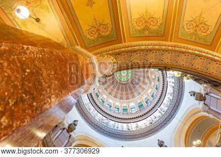 Springfield, Illinois, Usa - September 1 2015;  Illinois State Capitol Building Marble Pillar Rising