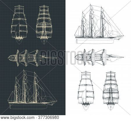 Large Sailing Ship Drawings