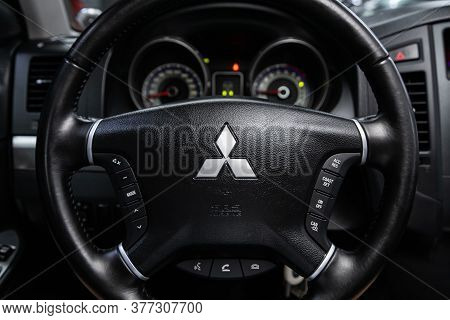 Novosibirsk/ Russia - June 30 2020:mitsubishi Pajero, Xury Car Interior - Steering Wheel, Shift Leve
