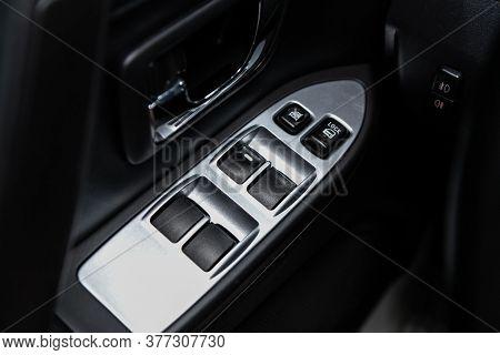 Novosibirsk/ Russia - June 30 2020:mitsubishi Pajero, Closeup Of A Door Control Panel In A New Car.