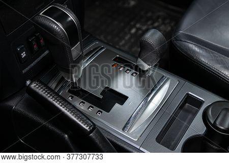 Novosibirsk/ Russia - June 30 2020:mitsubishi Pajero , Gear Shift. Automatic Transmission Gear Of Ca