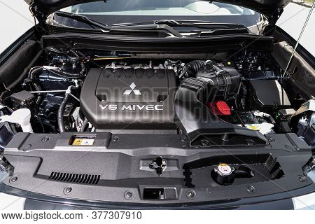 Novosibirsk/ Russia - July 04 2020:mitsubishi Outlander, Close Up Detail Of  Car Engine, Front View.