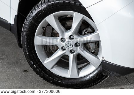 Novosibirsk/ Russia - July 04 2020: Lexus Rx, Car Wheel With Alloy Wheel And New Rubber On A Car Clo