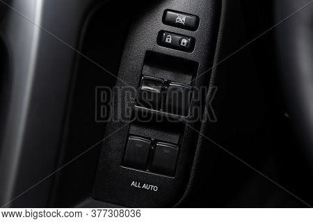 Novosibirsk/ Russia - May 25 2020: Toyota Land Cruiser Prado, Closeup Of A Door Control Panel In A N