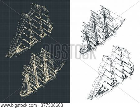 Large Sailing Ship Isometric Drawings